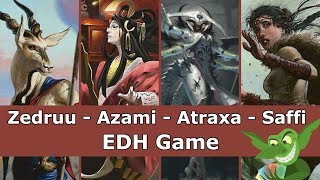 Zedruu vs Azami vs Atraxa vs Saffi EDH / CMDR game play video for Magic: The Gathering