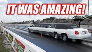 I Took My LIMO Drag Racing! (IT DOES BURNOUTS)