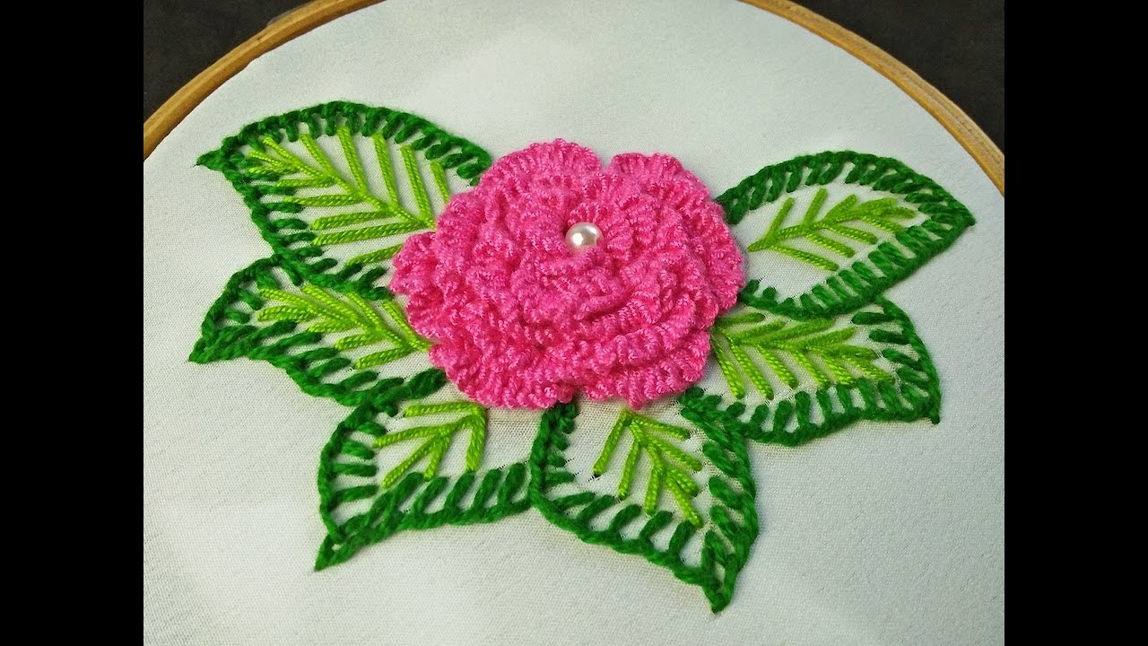 Hand Embroidery | 3D Ruffle Rose Embroidery | Brazilian Embroidery Rose | Rose Flower Embroidery ...