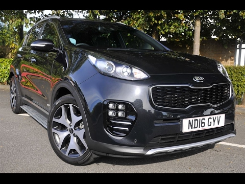 used kia sportage 1 6t gdi gt line 5dr awd black 2016. Black Bedroom Furniture Sets. Home Design Ideas