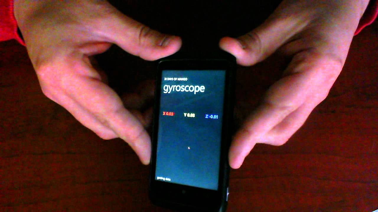 Gyroscope Data on a Windows Phone - YouTube