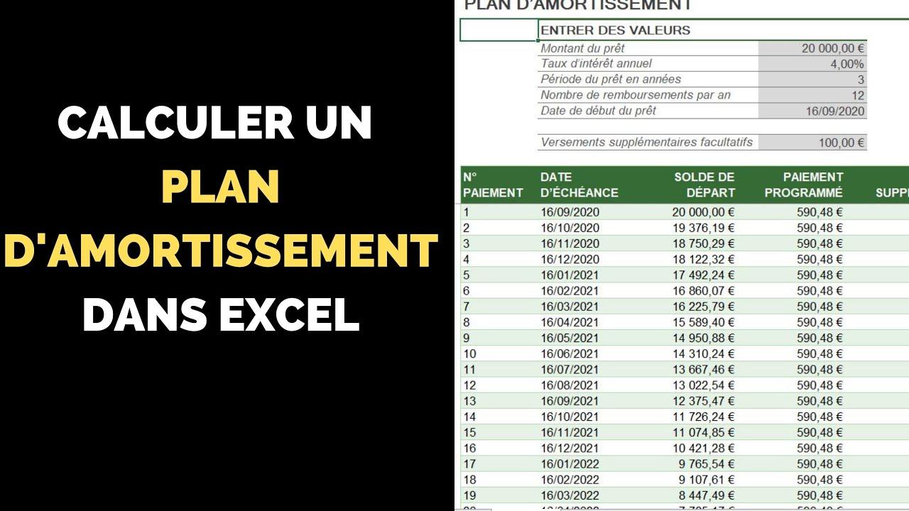 Calculer Un Plan D Amortissement Excel En 30 Secondes Sans Connaissance Youtube