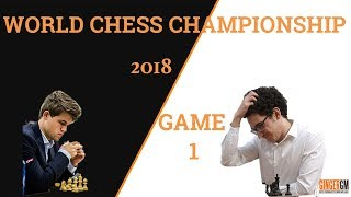 2018 World Chess Championship - Game 1: Fabiano Caruana vs Magnus Carlsen