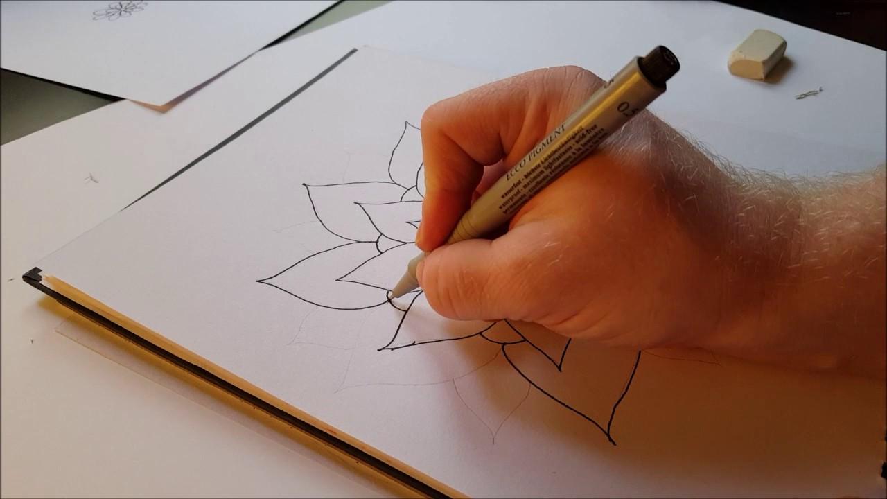 eine mandala blume zeichnen teil 1 youtube. Black Bedroom Furniture Sets. Home Design Ideas