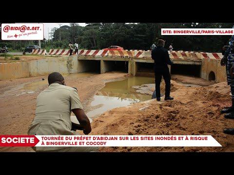 Tournée du Préfet d'Abidjan sur les sites inondés et à risque à Bingerville et Cocody