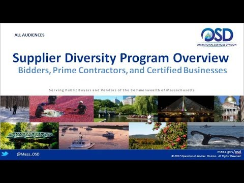 ALL AUDIENCES:  Supplier Diversity Program Overview:  Bidders, Contractors, and Certified Businesses