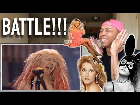 Singer Reaction to Ariana Grande vs Mariah Carey vs Christina Aguilera vs Celine Dion