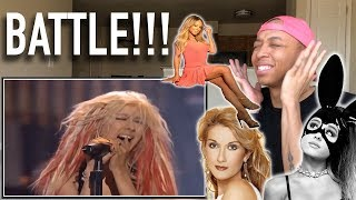 Singer Reaction to Ariana Grande vs. Mariah Carey vs. Christina Aguilera vs. Celine Dion
