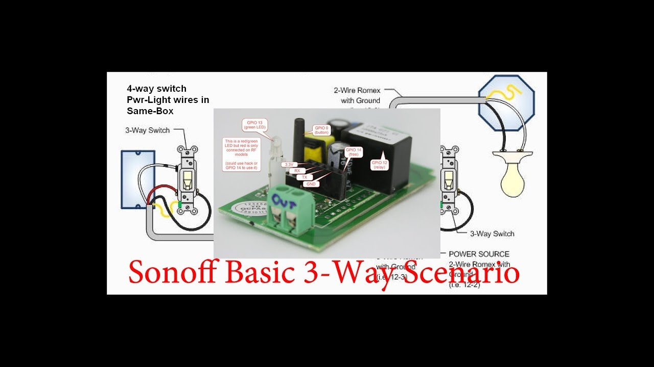 Light Switch Wiring Diagram Power At Switch 2018 Sonoff 3 Way Switch Scenario Youtube