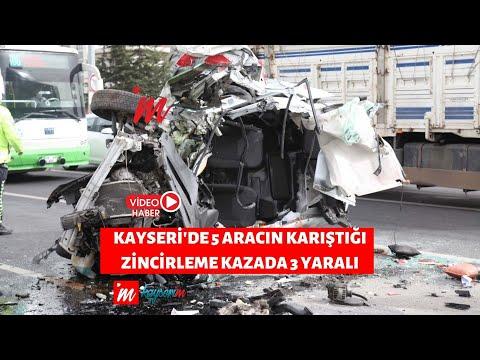 Kayseri'de 5 aracın karıştığı zincirleme kazada 3 yaralı