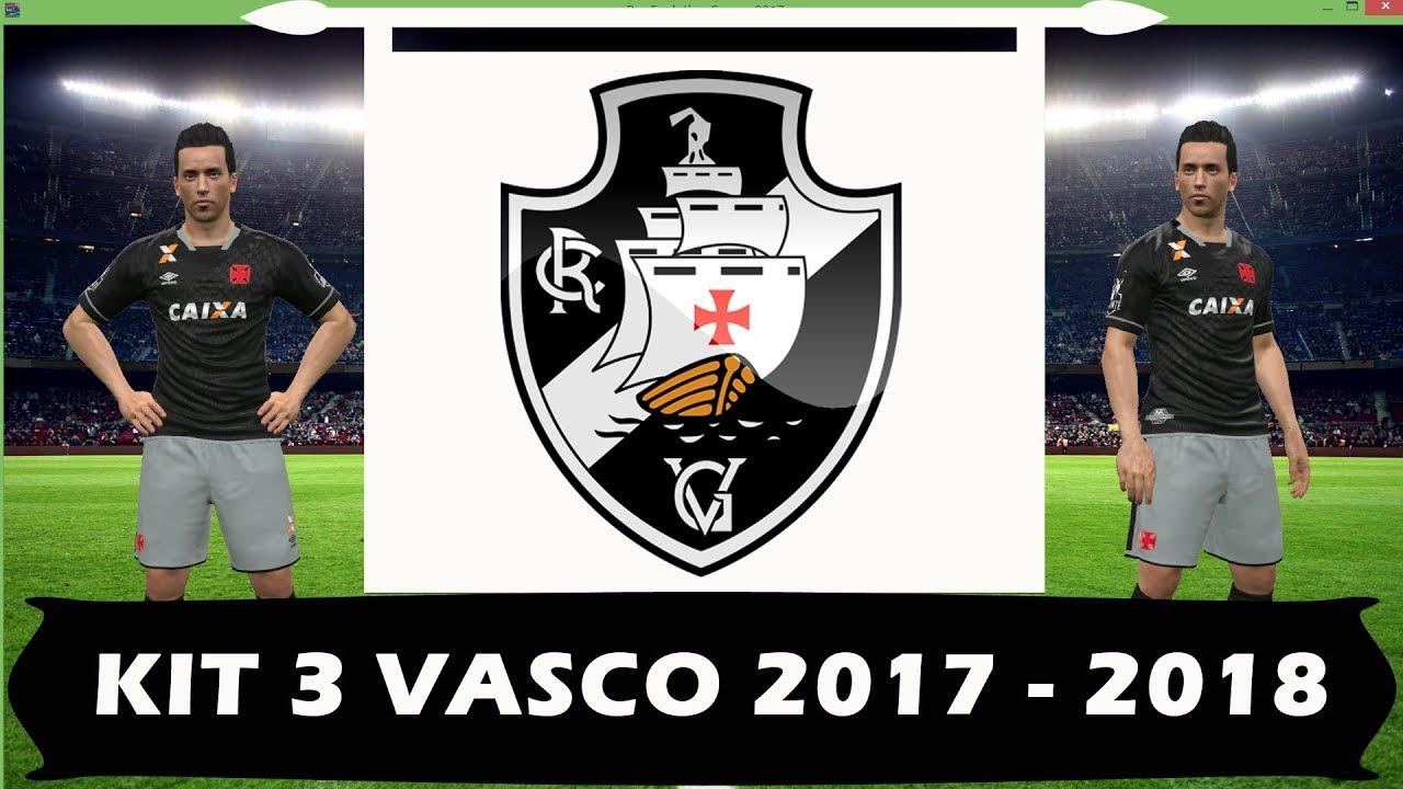 04674458e7 Novo uniforme kit 3 do Vasco 17 - 18 para PES 2017 - YouTube