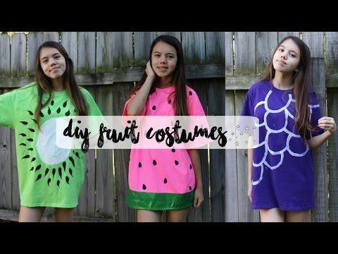 b09b55a7728e07 DIY FRUIT HALLOWEEN COSTUMES: Watermelon, Kiwi, and Grapes ♡ - YouTube