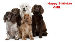 Girl - Dogs Perros - Happy Birthday