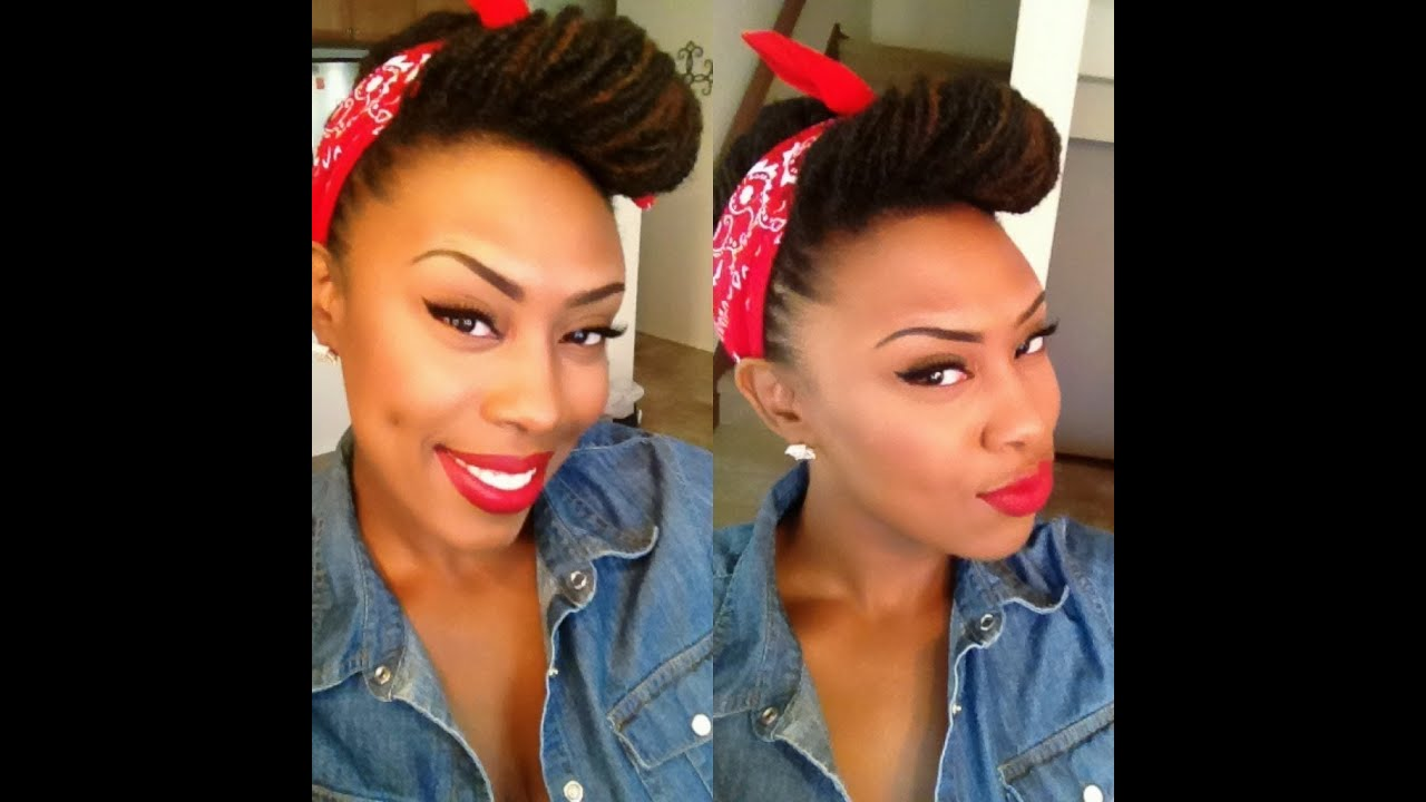 Locs Edition Simple Pin Up Rosie The Riveter Look Youtube