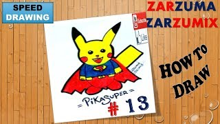 SPEED DRAWING HOW TO DRAW A PIKACHU SUPERMAN EASY AND FAST # 13