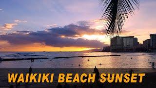Hawaii Beach     Waikiki Beach Sunset, Kuhio Beach   Honolulu, Oahu, Hawaii, USA