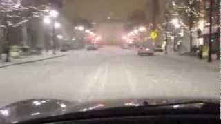Snow in downtown Raleigh (at midnight)