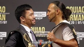 MANNY PACQUIAO LAUGHS IN KEITH THURMAN'S FACE DURING SECOND FACE OFF IN NEW YORK