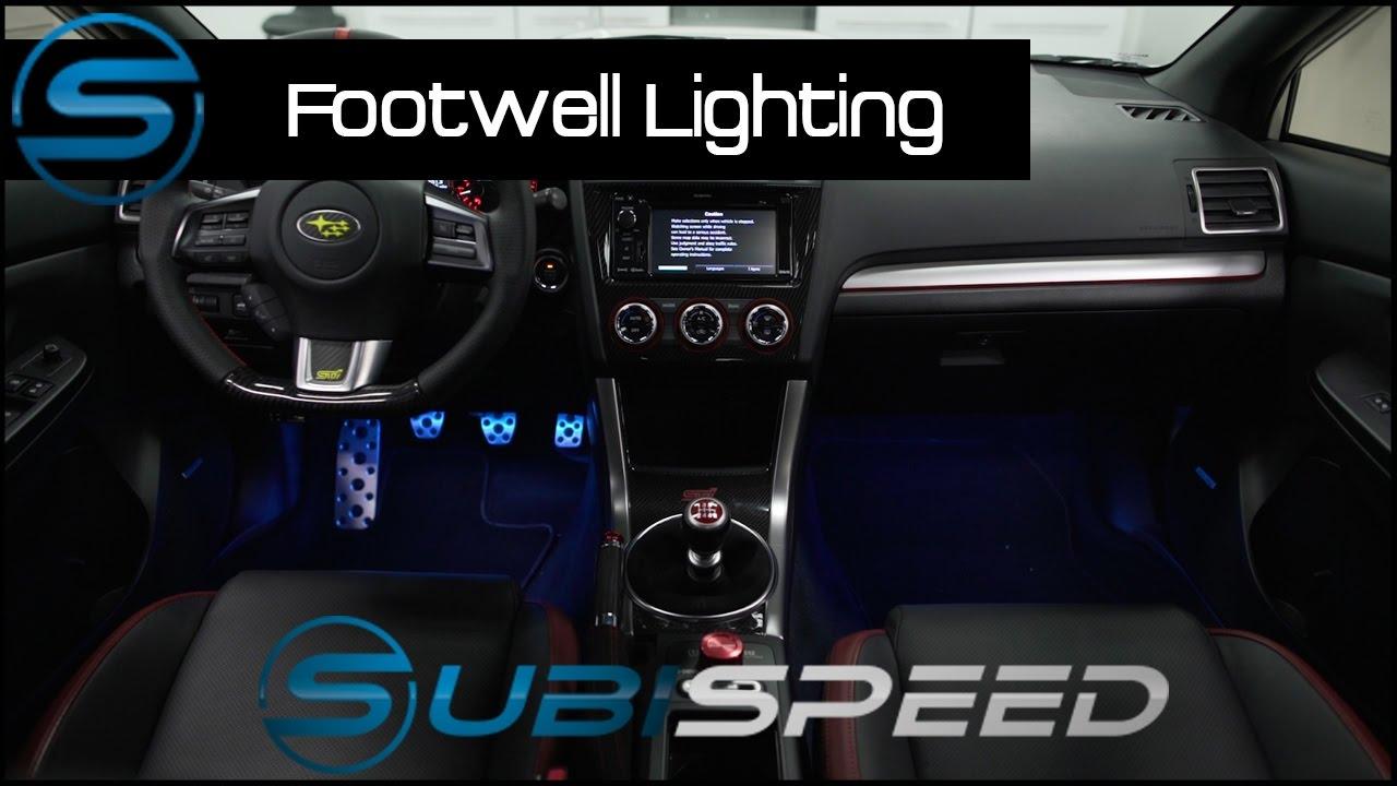 subispeed gcs rgb bluetooth footwell lighting kit install [ 1280 x 720 Pixel ]
