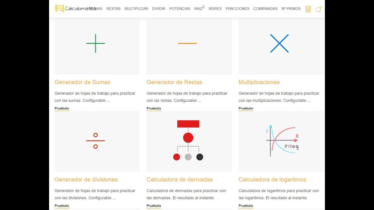 Calculomates Generador De Multiplicaciones Y Divisiones Youtube