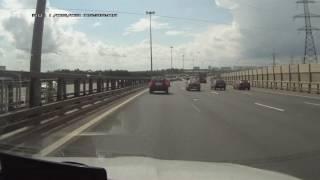 Выбило стекло пассажирской двери на КАД СПб. 31.07.2016 г.