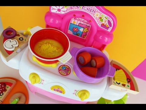 Thumbnail: Toy kitchen velcro cooking food play doh fun factory noodle soup baking pizza wooden toy food asmr