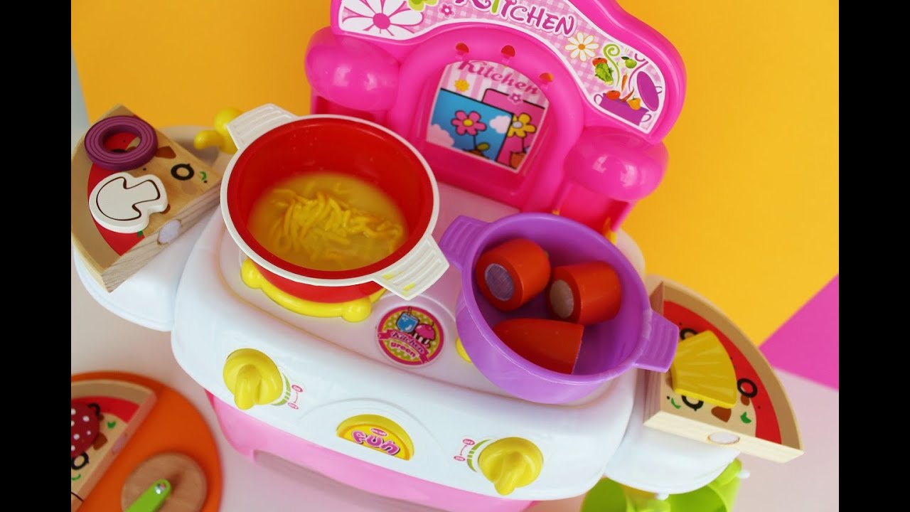Toy kitchen set wooden - Toy Kitchen Velcro Cooking Food Play Doh Fun Factory Noodle Soup Baking Pizza Wooden Toy Food Asmr Youtube