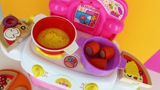 Toy kitchen velcro cooking food play doh fun factory noodle soup baking pizza wooden toy food asmr