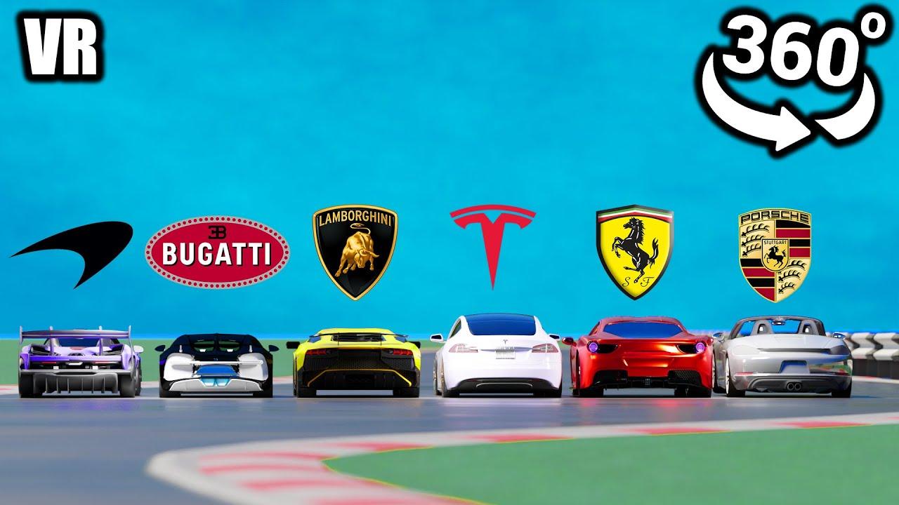 360° VR Video || Tesla vs Lamborghini  vs Porsche vs Bugatti vs Ferrari vs McLaren