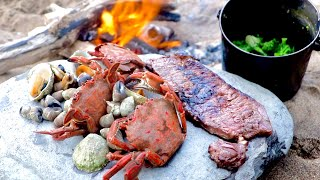 COASTAL FORAGING - Velvet Crab Surf & Turf - Beach fire Cook Up