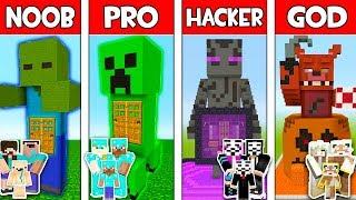 Minecraft: MONSTER MUTANT FAMILY HOUSE - NOOB vs PRO vs HACKER vs GOD in Minecraft Animation