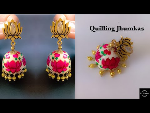 diy Quilling Jhumkas\Learn how to make quilling dome shape/Beautiful quilling jhumkas /Resin coated