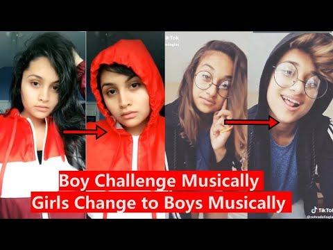 Girls Change to Boys Challenge Musically | Boy Challenge Musically| Heer Naik, Adeline Pach