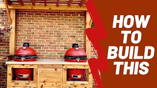 BBQ table DIY - Outdoor grill station for Kamado Joe or Big Green Egg table & concrete countertop