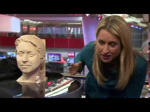 BBC World News presenter Karin Giannone is transformed into a work of art at London's Royal Academy