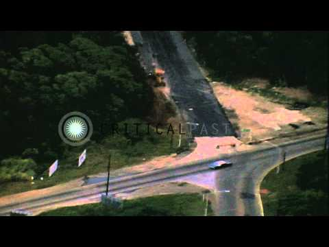 Border between Republic of Panama and Panama Canal Zone HD Stock Footage