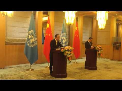 Ban Ki-moon speaks at joint press conference with H.E Mr. Wang Yi (China)