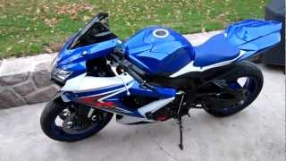 2008 SUZUKI GSXR 750 BLUE & WHITE LOADED WITH WOODCRAFT CRG ACRAPOVIC MUST SEE!!