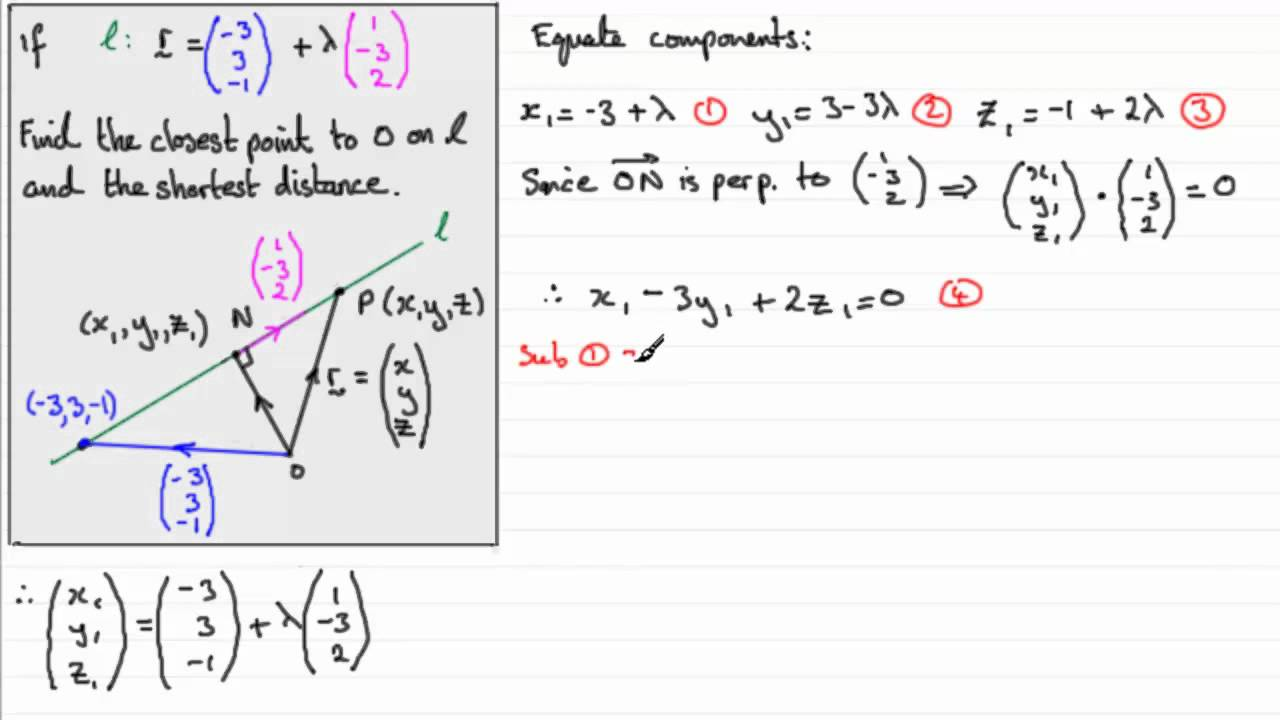 Vectors : Closest point / Shortest distance to a line : ExamSolutions
