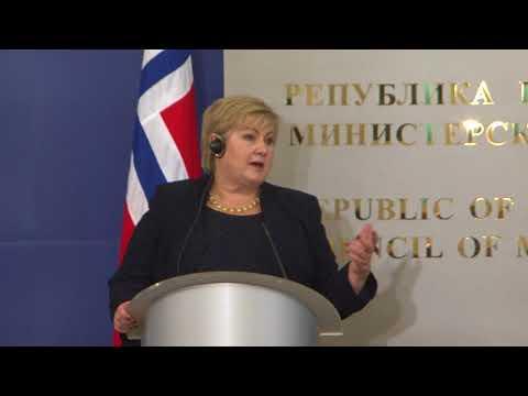Пресконференция с норвежкия премиер Ерна Солберг