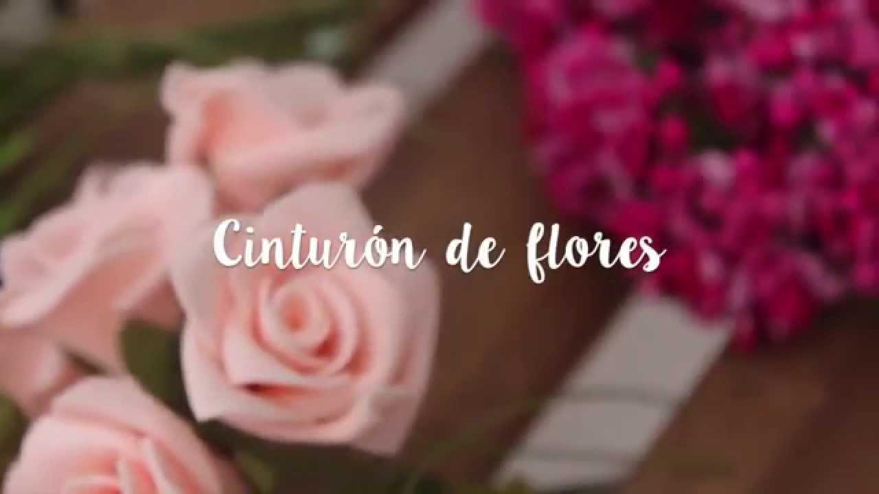 DIY  cinturón de flores - YouTube 5aa331f3d763