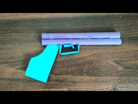 How to make  paper weapons - Paper cool gun does not shoot with tape hot glue step by step very easy