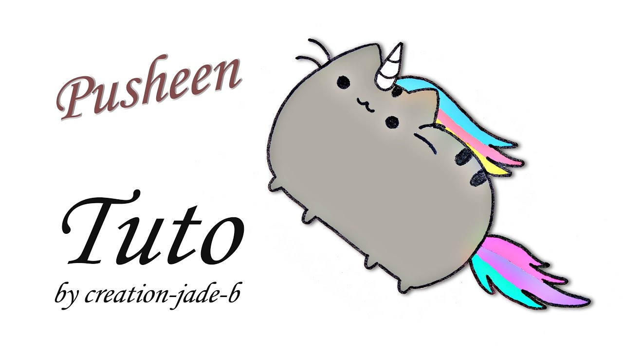 Comment dessiner pusheen le chat en licorne youtube - Chat facile a dessiner ...