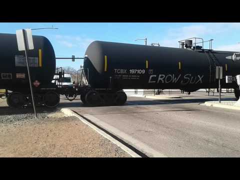 BNSF freight train with a friendly engineer