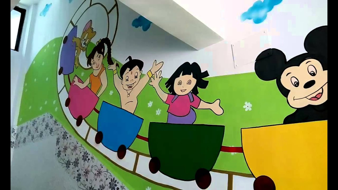 wall painting designs for play school India - YouTube