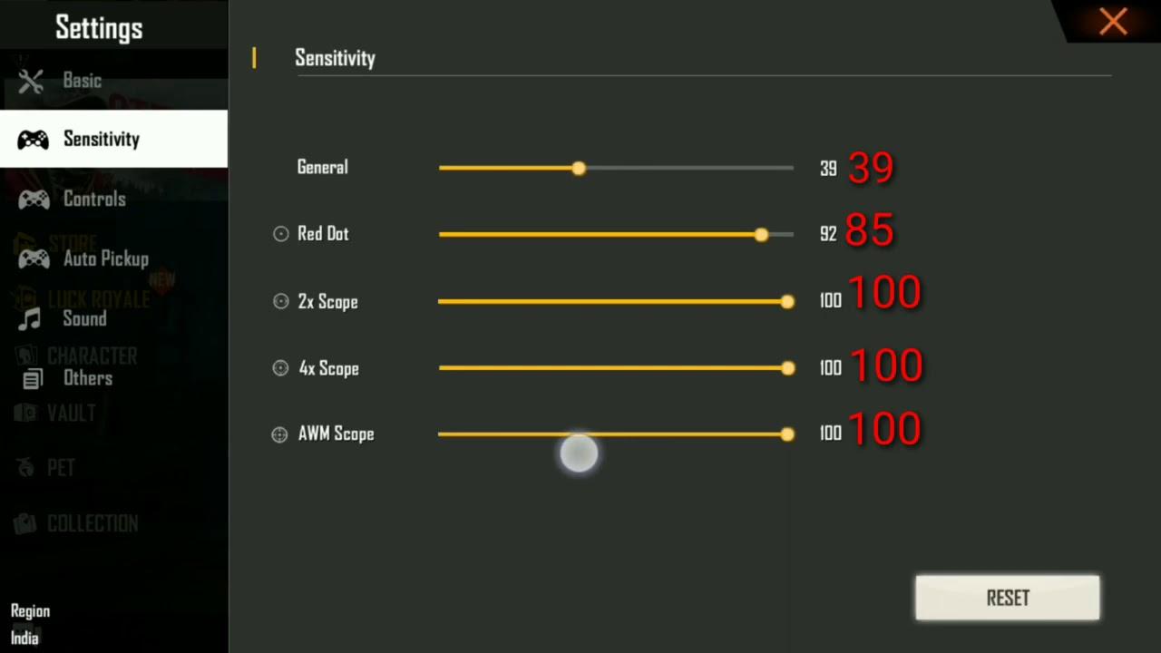 2020 Auto Headshot Best Sensitivity Setting For Pro Garena Free Fire Youtube