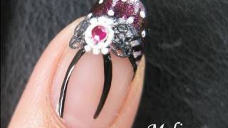 Nail Art Tutorial - Gothic Lolita Fantasy French Tip Bow Tie Nail Sticker rhinestone Manicure Design