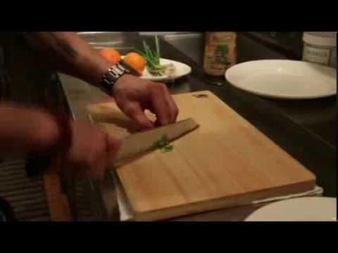 Chef Cosentino prepares Kona kanpachi with a Shun Blue Kiritsuke
