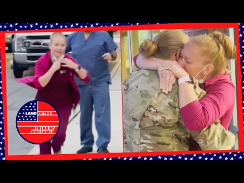 Airman Daughter Surprises Healthcare Worker Mom After Longest Time Apart