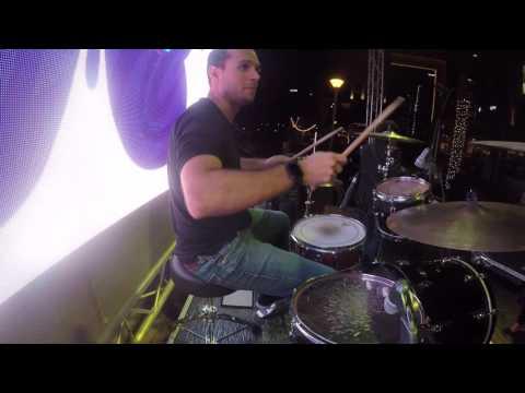 Leo Ehrlich playing drums with Rouba Zeidan at the Dubai Marina Music Festival